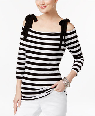 INC International Concepts Striped Cold-Shoulder Top, Only at Macy's $49.50 thestylecure.com