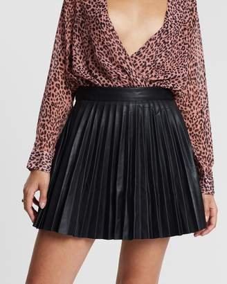 Missguided Faux Leather Pleated Mini Skirt