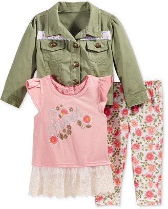 Nannette 3-Pc. Jacket, T-Shirt & Leggings Set, Baby Girls (0-24 months) $50 thestylecure.com
