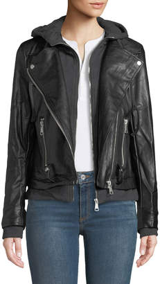 Bagatelle Faux-Leather Jacket w/ Hoodie Bib