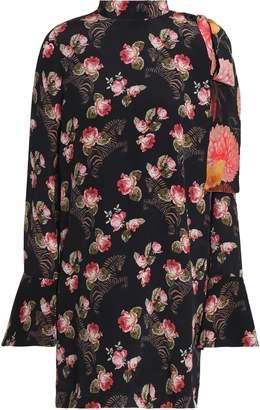 Mother of Pearl Cold-shoulder Floral-print Silk-georgette Mini Dress