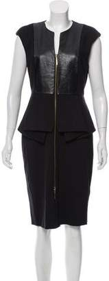 Ted Baker Leather-Trimmed Knee-Length Dress