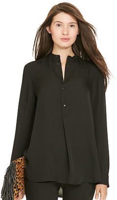 Polo Ralph Lauren Silk Contrast-Yoke Shirt $198 thestylecure.com