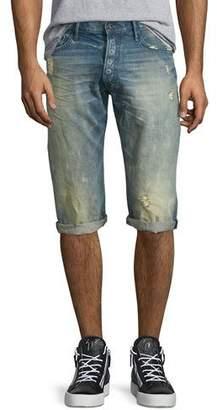 PRPS Distressed Slim-Fit Denim Shorts, Light Blue $225 thestylecure.com