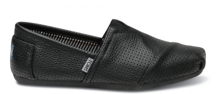 Toms Black Perforated Leather Men's Classics