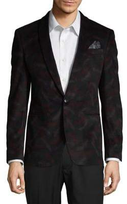 Tallia Orange Slim Mason Fit Floral Velvet Sports Jacket
