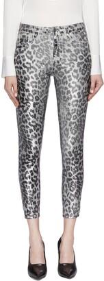 L'Agence 'Margot' crackle leopard foil print skinny jeans