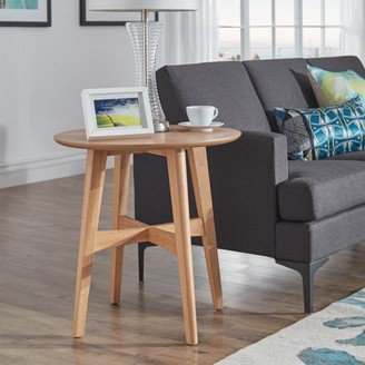 Weston Home Carole Round Wood Modern End Table, Multiple Colors