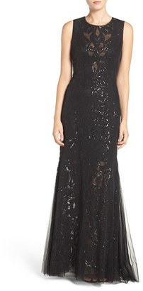 Women's Vera Wang Sequin Lace & Tulle Gown $448 thestylecure.com