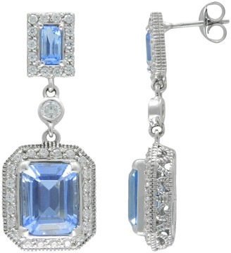 Siri Usa By Tjm SIRI USA by TJM Sterling Silver Simulated Blue Quartz & Cubic Zirconia Frame Drop Earrings