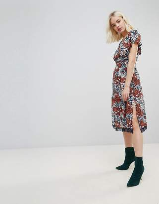 Hazel Floral Printed Off Shoulder Midi Dress