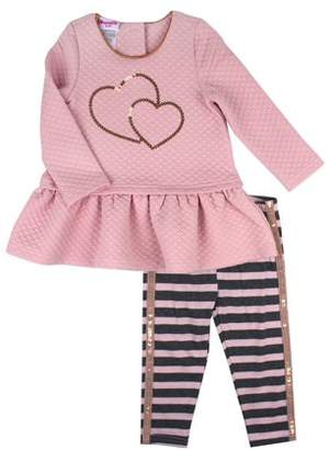 Nannette Sequin Quilted Top and Legging, 2-Piece Outfit Set (Little Girls)