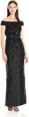 Adrianna Papell Women's Fully Beaded Off The Shoulder Gown