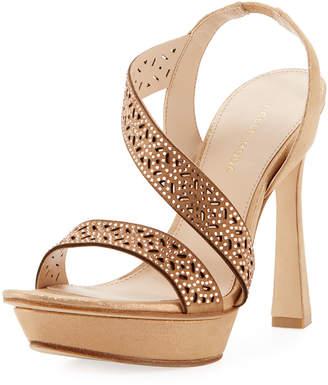 Pelle Moda Posey Metallic Suede Platform Evening Sandal