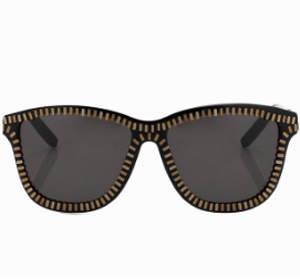 linda farrow x alexander wang Alexander Wang Zipper Frame Sunglasses in Black & Brass