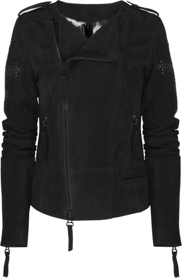Thomas Wylde Dagger embellished suede jacket