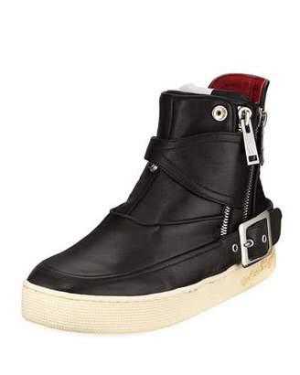 Haculla Men's Philip Zip-Buckle High-Top Leather Sneakers
