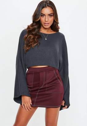 Missguided Plum Contrast Stitch Scuba Utility Tie Waist Mini Skirt