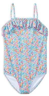 Ralph Lauren Girls' Ruffled Floral-Print Swimsuit - Big Kid