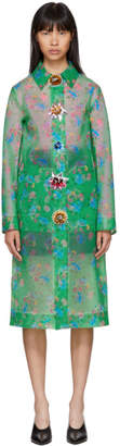 Christopher Kane Green Archive Floral Long Raincoat