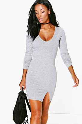 boohoo Long Sleeved Split Front Mini Dress
