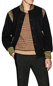 Needles Men's Leopard-Inset Wool-Blend Varsity Jacket - Black