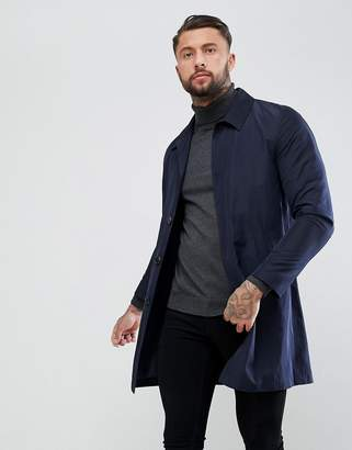Asos Shower Resistant Single Breasted Trench Coat in Navy