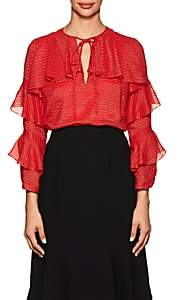 J. Mendel Women's Metallic-Striped Ruffled Silk-Blend Blouse - Red