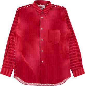 Supreme CDG Pinstripe Button Up Shirt - 'SS 14' - Red