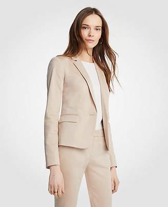 Ann Taylor Cotton Sateen One Button Perfect Blazer