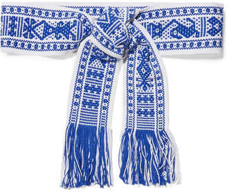 Pippa Holt - Fringed Cotton-jacquard Waist Belt - Blue