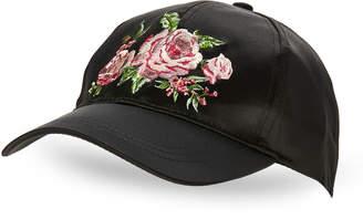 BCBGeneration Roses Satin Baseball Cap