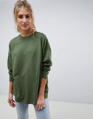 Asos Design DESIGN oversized slouchy lightweight sweatshirt in khaki