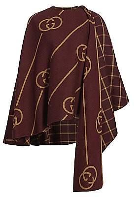 Gucci Women's GG Windowpane Plaid Wool Cape