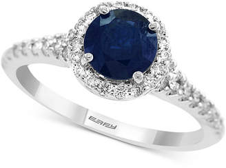 Effy Gemstone Bridal by Sapphire (1 ct. t.w.) & Diamond (1/3 ct. t.w.) Ring in 18k White Gold