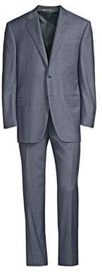 Canali Men's Classic-Fit Wool Check Suit - Blue - Size 50 (40) R