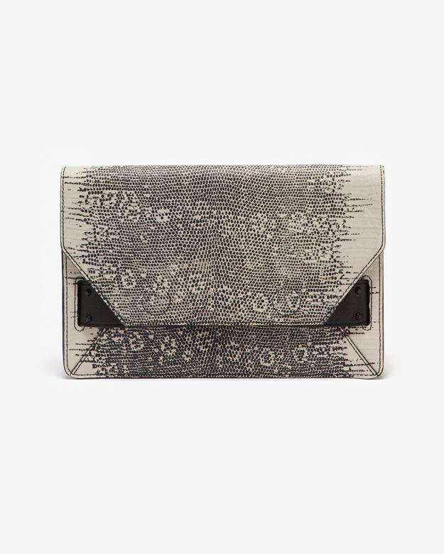 Derek Lam 10 Crosby Lizard Print Leather Folio Clutch