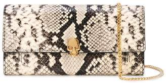 Alexander McQueen snake print skull wallet on chain