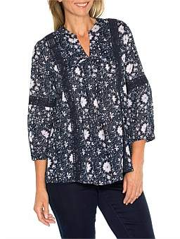 Yarra Trail 3/4 Sleeve Printed Lace Trim Shirt