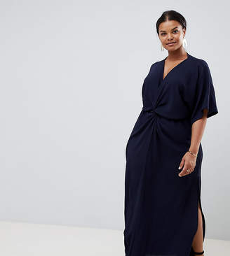 John Zack Plus knot front maxi dress in navy