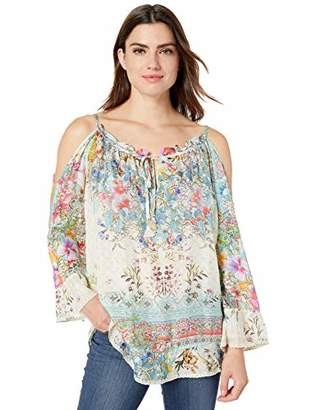 Johnny Was Women's Cold Shoulder Blouse with Tie