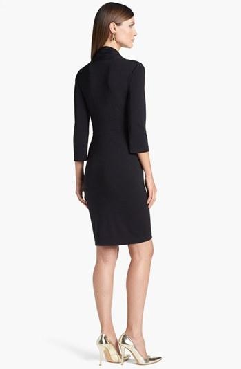 St. John Asymmetrical Collar Matte Jersey Dress