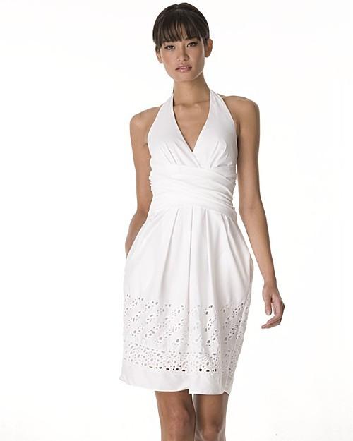 BCBGMAXAZRIA Women's White Halter Dress