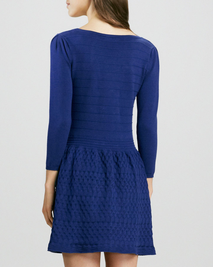 Phoebe by Kay Unger Fit-and-Flare Textured Dress