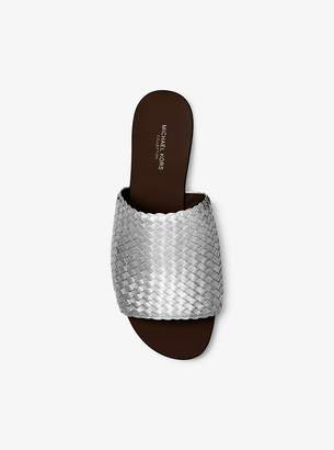 Michael Kors Byrne Metallic Woven-Leather Slide