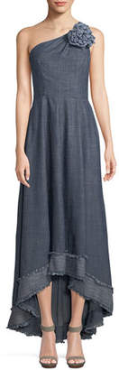 Trina Turk Bel-Air One-Shoulder Dress in Chambray