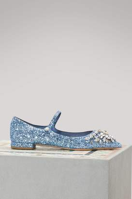 Miu Miu Jewel glitter ballet pumps