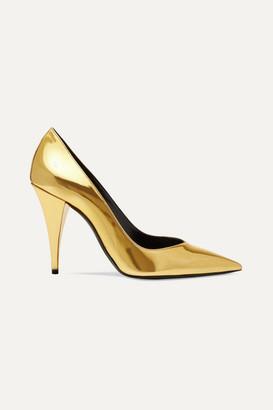 Saint Laurent Kiki Mirrored-leather Pumps - Gold
