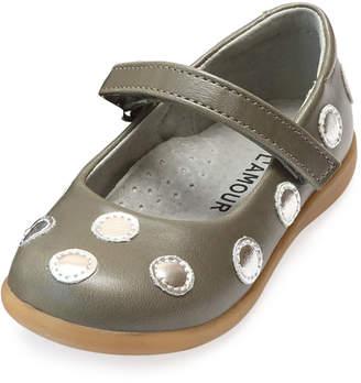 Mara Metallic Polka-Dot Leather Mary Jane, Size Baby/Toddler/Kids