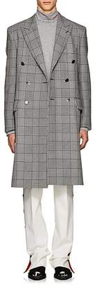 Calvin Klein Men's Checked Wool-Silk Double-Breasted Overcoat